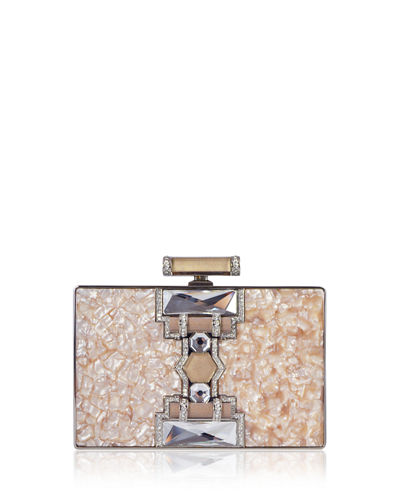 Jazz Age Ridged Rectangle Marble Resin Clutch Bag