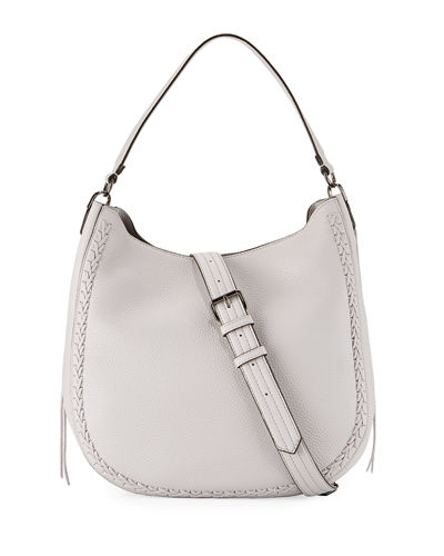 Convertible Pebbled Hobo Bag, Light Gray
