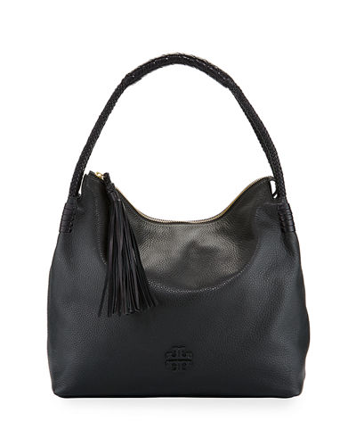 Taylor Pebbled Leather Zip-Top Hobo Bag