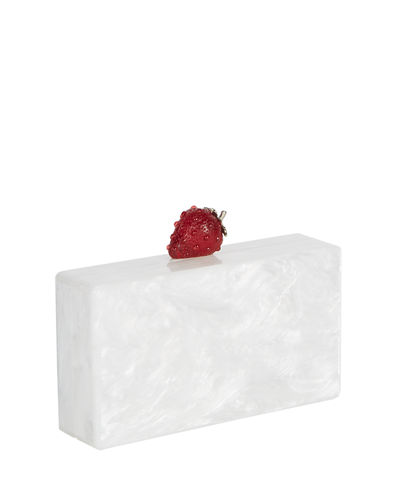 Jean Marbled Acrylic Strawberry Clutch Bag, White/Red