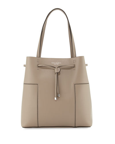 Block-T Leather Bucket Tote Bag