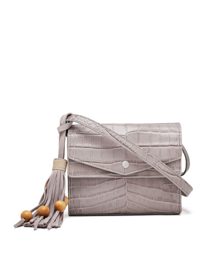 Eloise Field Crocodile-Embossed Crossbody Bag