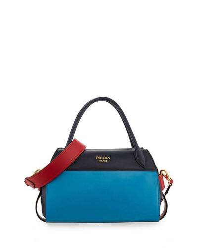 Prada Bowling Ribbon Bicolor Double-Handle Tote Bag