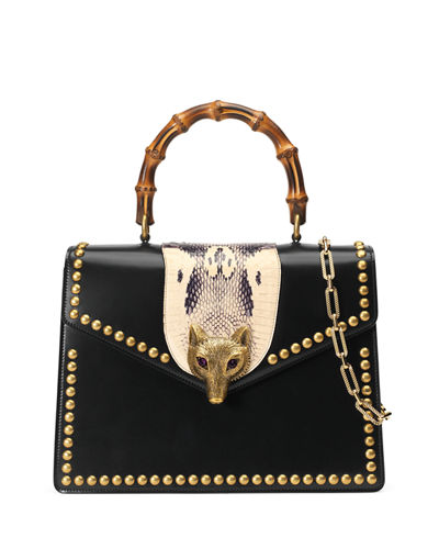 Broche Glossy Leather Top-Handle Bag