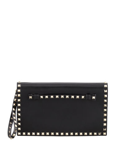 Rockstud Flap Wristlet Clutch Bag, Rosso Red