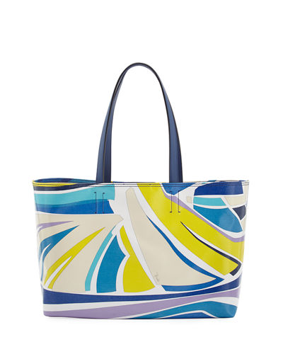 Emilio Pucci Lance Printed Canvas Beach Tote Bag
