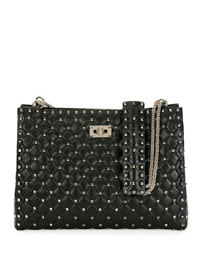 Rockstud Spike Crinkled Shoulder Bag
