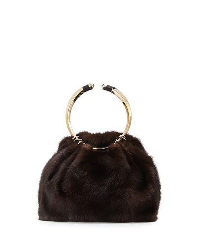 Valentino Bebop Loop Mink Fur Top-Handle Bag