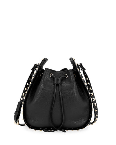 Rockstud Small Leather Drawstring Bucket Bag