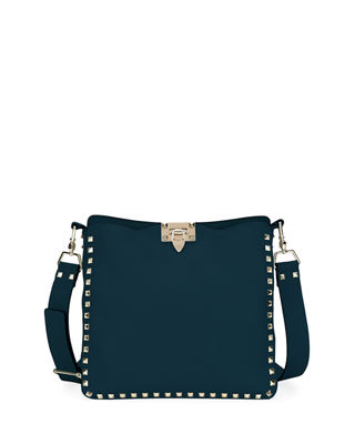 Valentino Garavani Rockstud Small Leather Hobo Bag