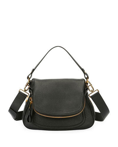 Jennifer Large Grained Leather Saddle Bag