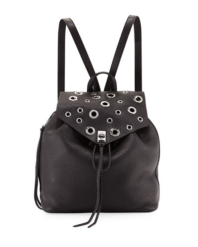 Darren Pebbled Grommet-Trim Backpack