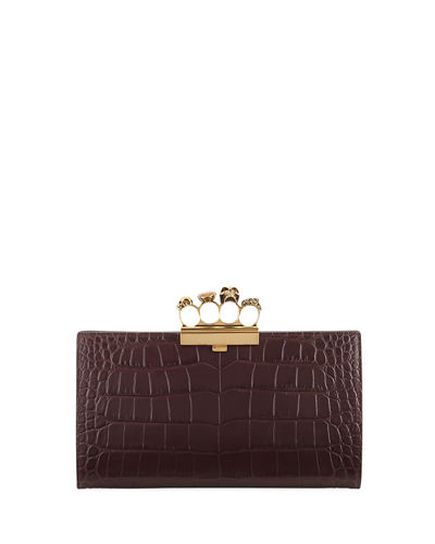 Alexander McQueen Knuckle Silky Crocodile-Embossed Flat Clutch