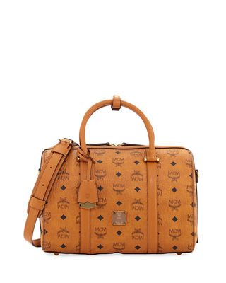 MCM Signature Visetos Original Boston Satchel Bag | Neiman Marcus