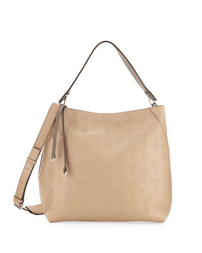 Klara Monogrammed Leather Hobo Bag