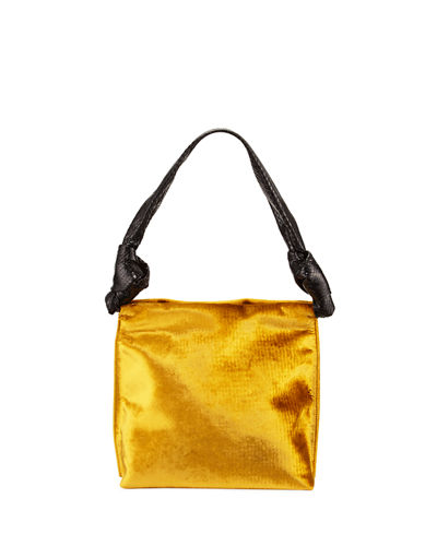 Wander Small Velvet & Snakeskin Shoulder Bag