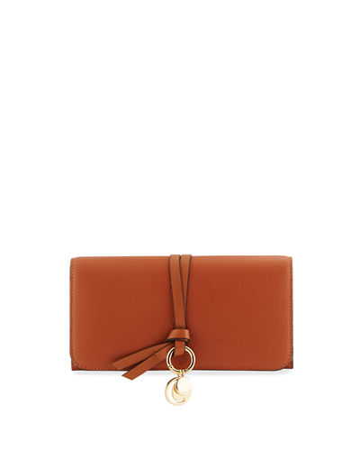 Alphabet Leather Continental Flap Wallet