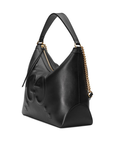 Original Large Leather Embossed GG Hobo Bag