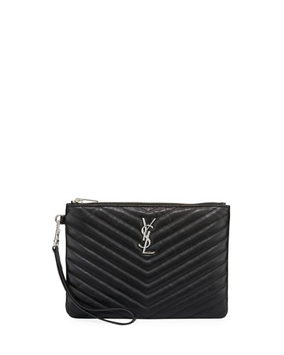 Saint Laurent Monogram Quilted Pouch Wristlet Wallet