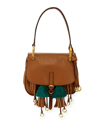 Corsaire Calf Leather Fringe Shoulder Bag