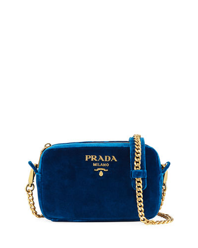 Velvet Zip-Top Chain Shoulder Bag