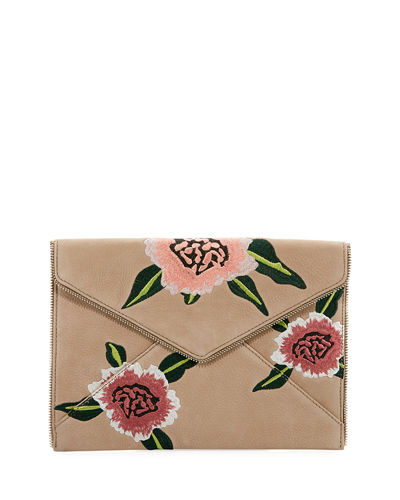 Leo Floral Embroidered Envelope Clutch Bag
