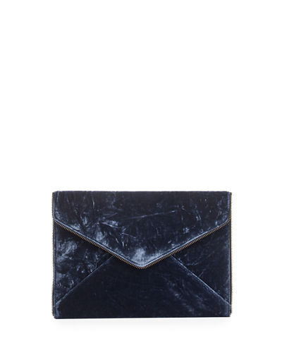 Leo Velvet Envelope Clutch Bag