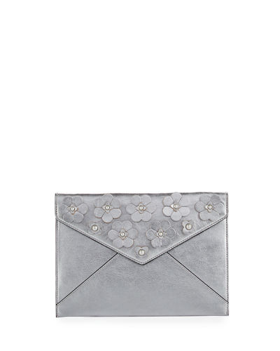 Metallic Floral Envelope Clutch Bag