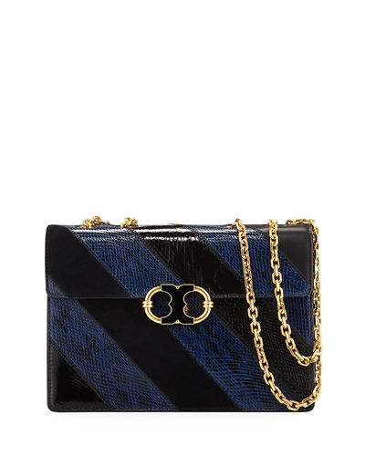 Gemini Link Snakeskin Chain Shoulder Bag