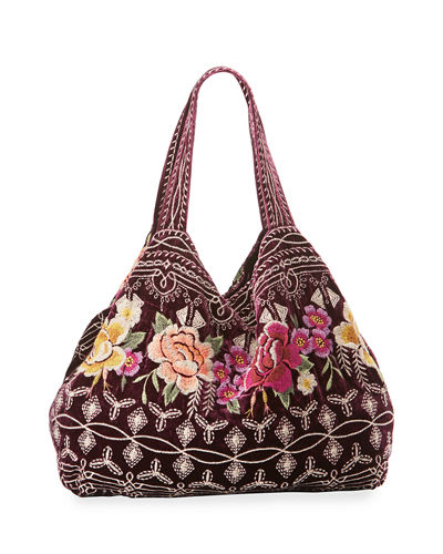 Flores Embroidered Velvet Tote Bag