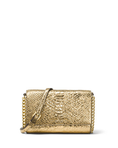 Ruby Medium Metallic Leather Clutch Bag