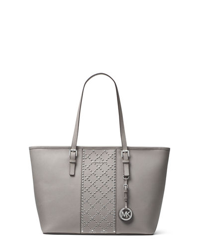 Jet Set Travel Studded Saffiano Tote Bag
