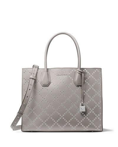 Mercer Large Studded Convertible Tote Bag with Rhodium-Tone Hardware