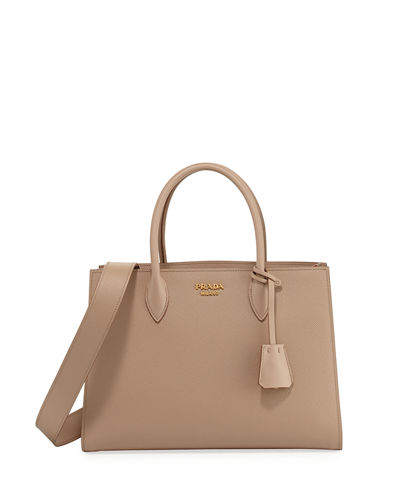 Large Bicolor Saffiano Side-Pleat Tote Bag