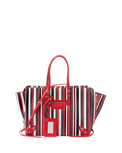 Balenciaga Papier B4 AJ Striped Zip-Around Tote Bag
