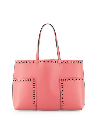 Block-T Brogue Leather Tote Bag