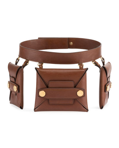 Faux-Leather Trio Belt Bag