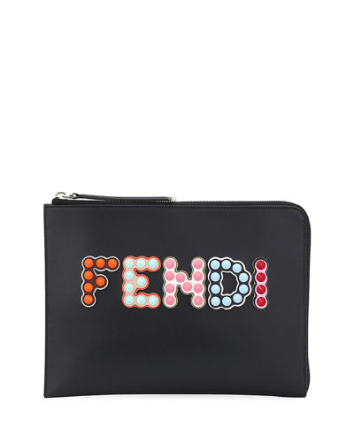 Polished Logo-Studded Flat Pouch Bag