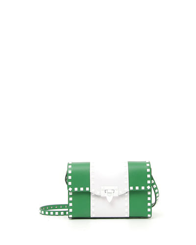 Free Rockstud Medium Striped Leather Shoulder Bag