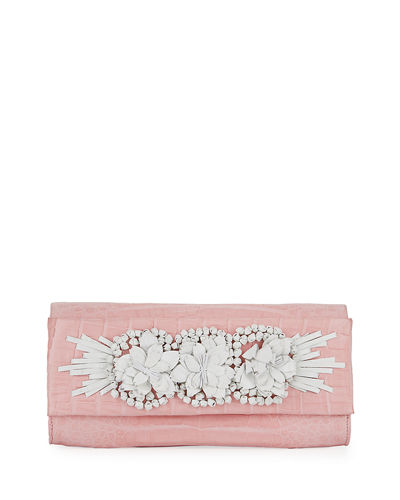 Floral Insert Crocodile Clutch Bag