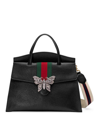 gucci tote. linea totem large leather top-handle bag with butterfly \u0026 web strap gucci tote b