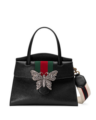 gucci purse. linea totem medium leather top-handle bag with butterfly \u0026 web strap gucci purse