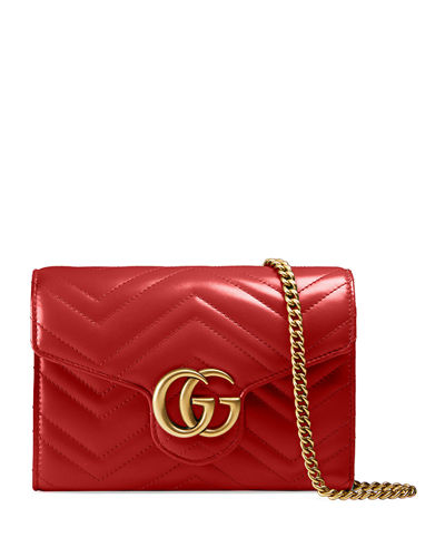 GG Marmont Chevron Quilted Leather Flap Wallet on a Chain