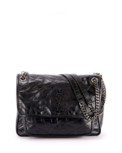 Niki Medium Shiny Waxy Quilted Shoulder Bag