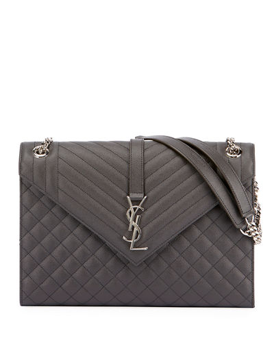 V-Flap Large Tri-Quilt Envelope Chain Shoulder Bag