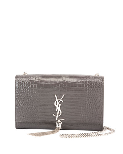 Kate Monogram Medium Crocodile-Embossed Tassel Shoulder Bag