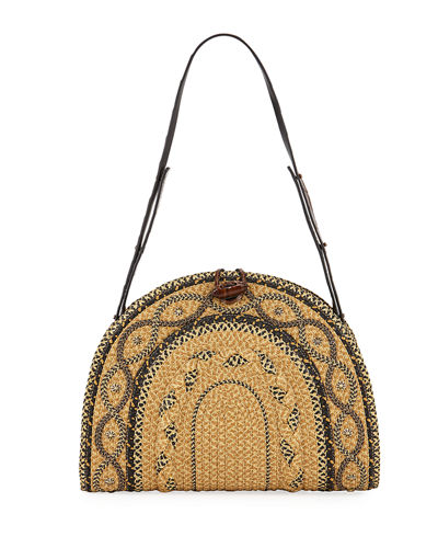 Jiva Straw Half-Moon Shoulder Bag