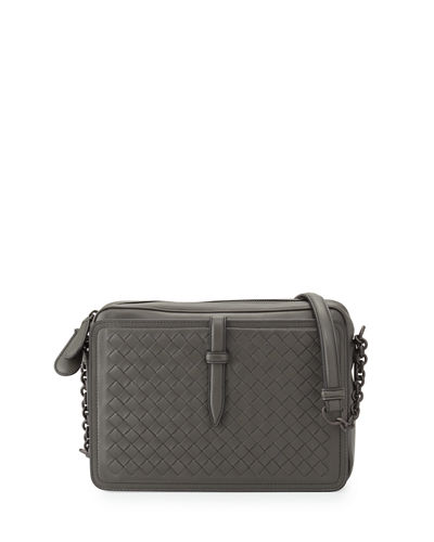 Medium Intrecciato Zip-Top Camera Shoulder Bag