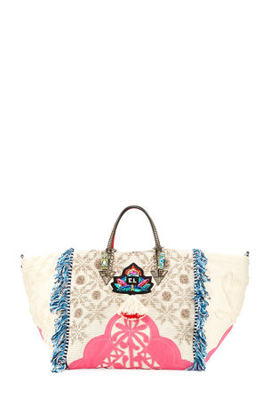 Christian Louboutin Portugaba Fabric Paris Tote Bag