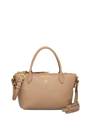 Prada Small Daino Tote w/ Removable Crossbody Web & Leather Straps